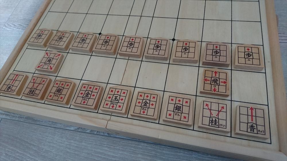 くもん出版NEWスタディ将棋は、駒に動き方が書いてある。